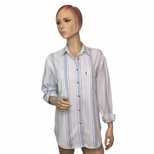 Levi's Blue Striped Long Sleeve Button Down Medium